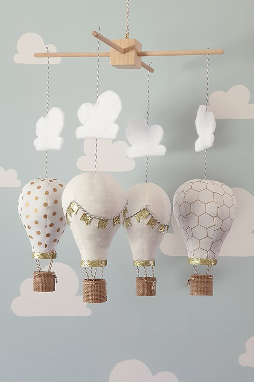 Hot Air Balloon mobile - Ivory and gold