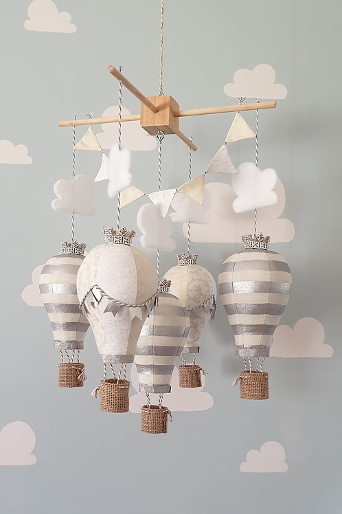 Hot Air Balloon mobile - White, Ivory and Silver