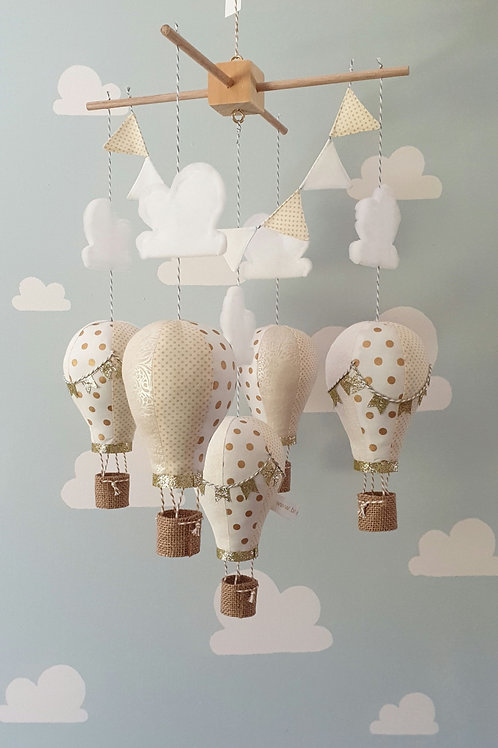 Hot Air Balloon mobile -  Cream white, and gold