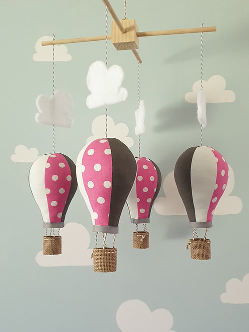 Hot Air Balloon mobile - Pink, Slate grey and white