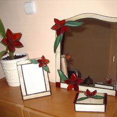 Tiffany tükör 3 dimenziós virágokkal