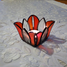 Tulipános tiffany mécsestartó