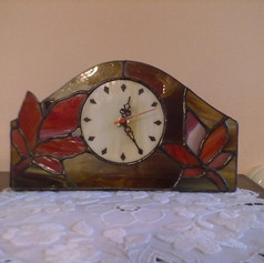 Juharleveles tiffany kandalló óra