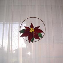 Tiffany Mikulásvirág ablakdísz