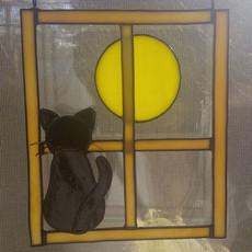 Tiffany Cica és Hold ablakdísz