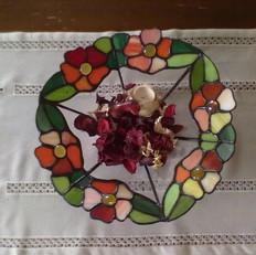 Virágos tiffany tál