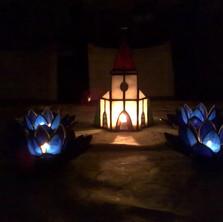 Templom tiffany mécsestartó
