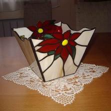 Tiffany tál mikulásvirágokkal