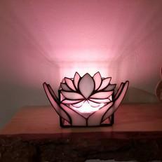 Lótusz gyertyatartó színváltós LED lámpával
