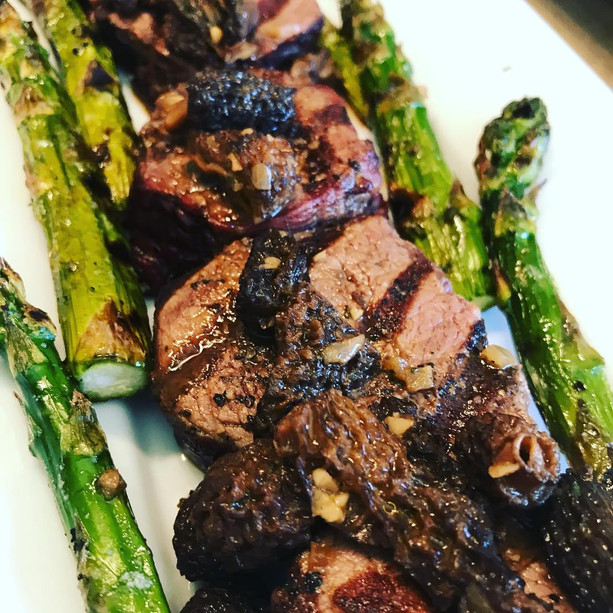 Beef fillet with morels and asparagus; Yellowstone grass fed beef, J Bar L Montana.