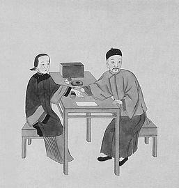 Ancient illustration of pulse taking