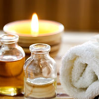 candle and massage oil