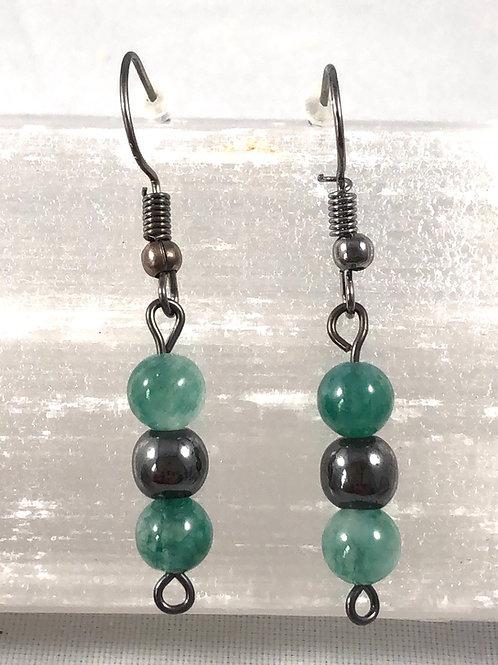 Aventurine and Hematite earrings