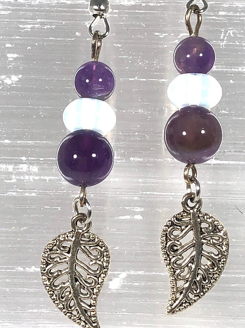 Amethyst and Moonstone earrings with leaf accent