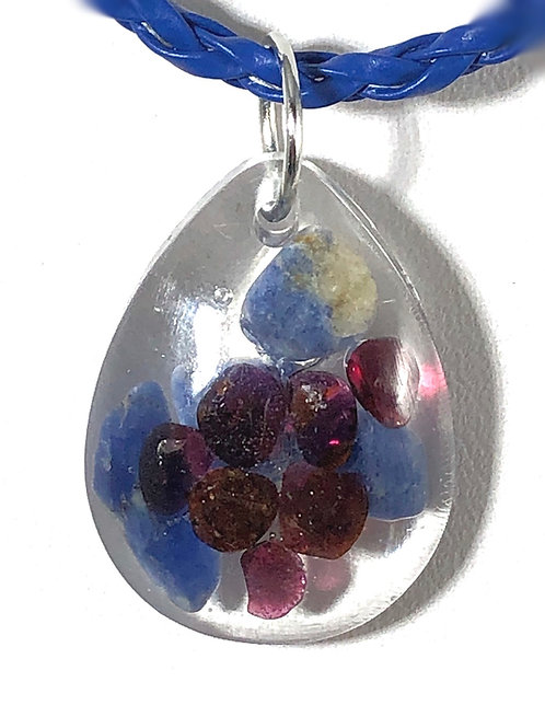 """Garnet and Lapis Lazuli set in resin on 16-18"""" woven cord"""
