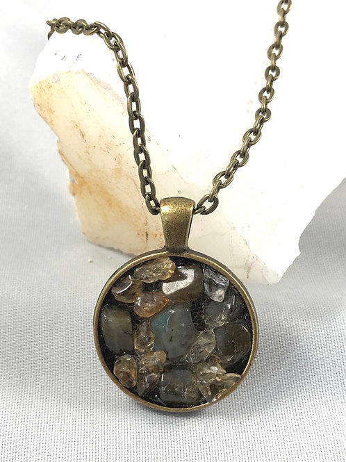 """Labradorite and Citrine Reiki infused necklace 20"""" long"""