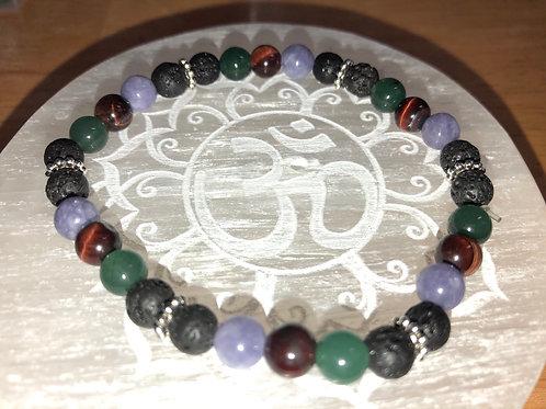 "Angelite, Red Tigers Eye, Jade and Lava Stone 8"" Reiki infused bracelet"