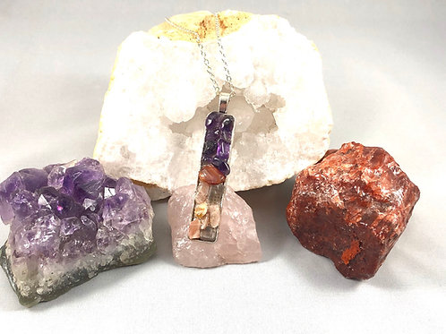 """Reiki infused Amethyst, Carnelian and Moonstone necklace 18"""""""