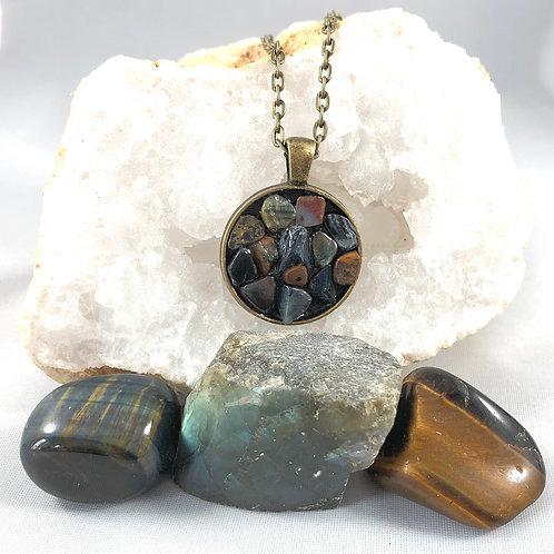 "Blue Tigers Eye Reiki infused handmade necklace 20"""