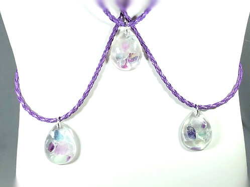 Fluorite Crystal necklace set in resin