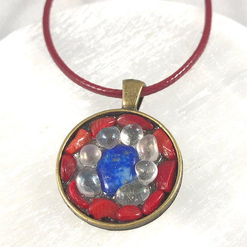 """Reiki infused, handmade Moonstone, Lapis Lazuli and Coral on 17-19"""" red cord."""