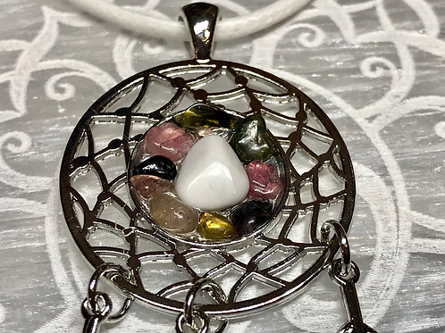 Dreamcatcher with Howlight and Tourmaline necklace