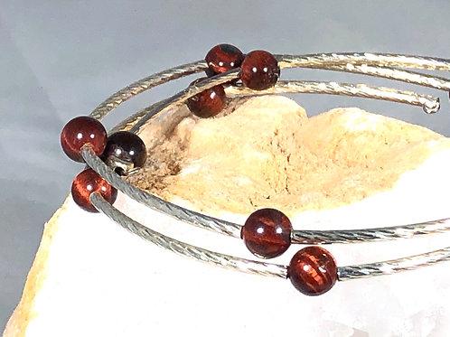 Red Tigers Eye Reiki infused memory wire bracelet