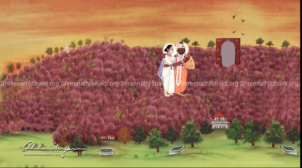 ShreeNathji comes out of His kandra and bhents (greets) Shri Vallabh