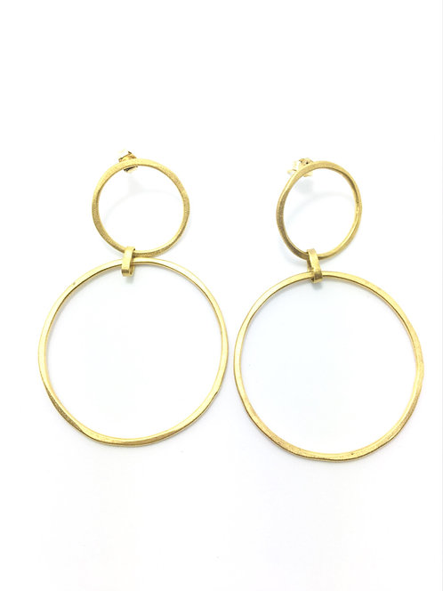 Argollas Doble Machacada Gold
