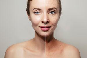 woman face portrait on plain grey backgr