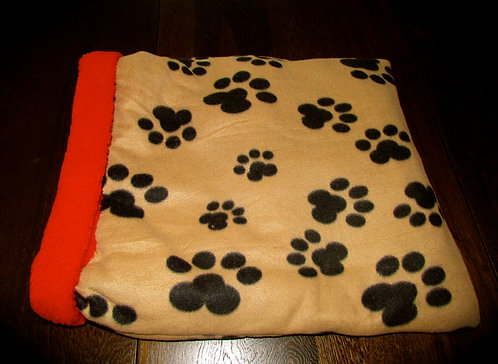 Black Paw Print on Beige Snuggle Pouch(Click here)