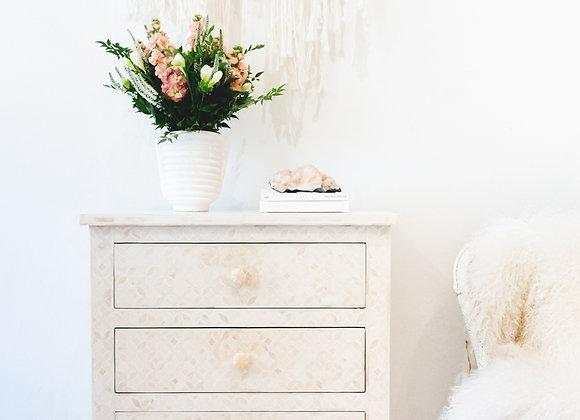 White and Bone Inlay Geometric 3 Drawer Bedside