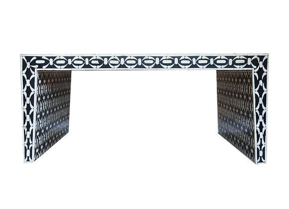 Black and White Bone Inlay Geometric Coffee Table