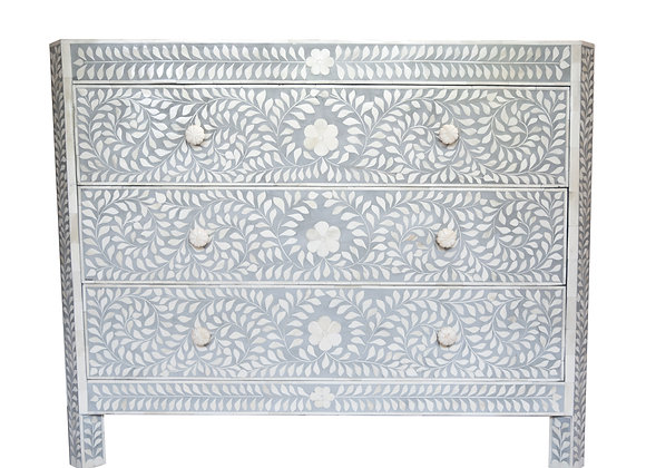 Grey and White Bone Inlay Floral 3 Drawer Dresser