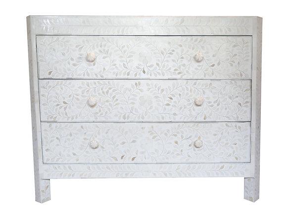 White Bone Inlay Floral 3 Drawer Chest
