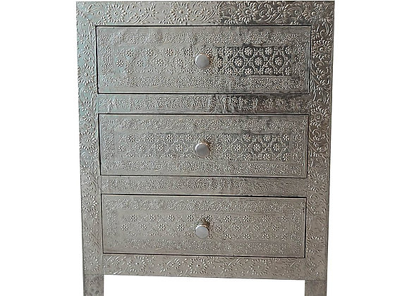 Silver Pressed Metal 3 Drawer Bedside Table