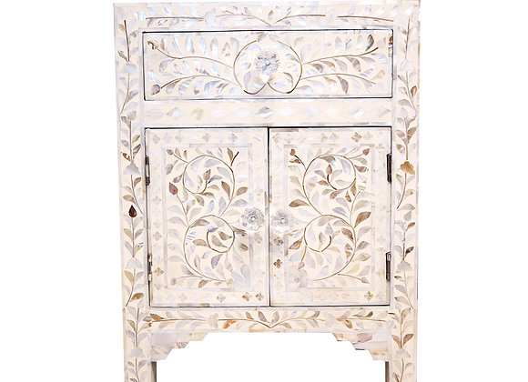 Mother Of Pearl Bone Inlay Floral Bedside Table with 1 Drawer 1 Cupboard
