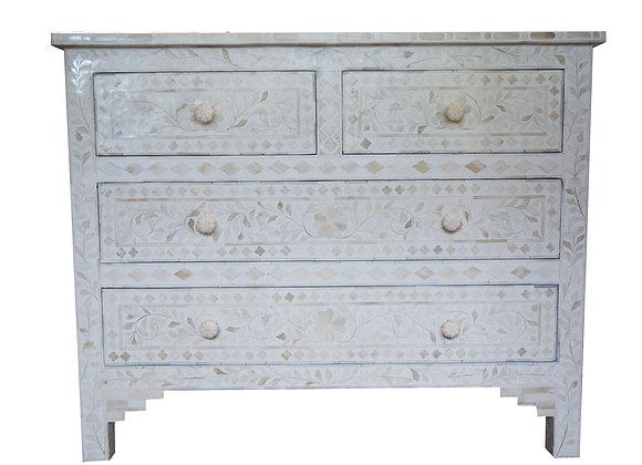White and white bone inlay 4 drawer dresser