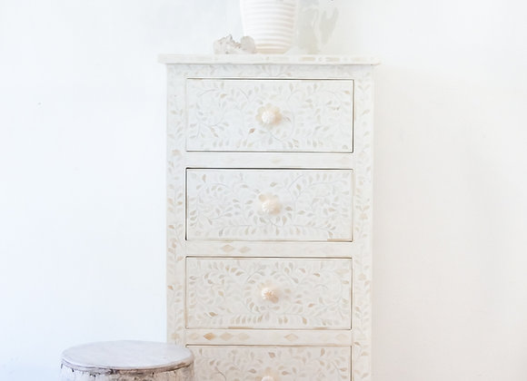 White and Bone Inlay Geometric 4 drawer  Tallboy