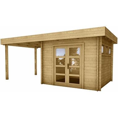 Gardy Shelter Massivholzhütte mit Flachdach und überdachter Terrasse von 7m²