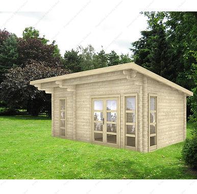 Helle Holzhütte von 15 bis 22 m² mit verstärkter Isolierung 100 mm