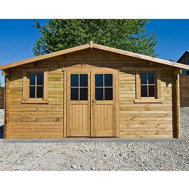 Shelter in behandeltem Holz und getöntem braunem Gardy Shelter