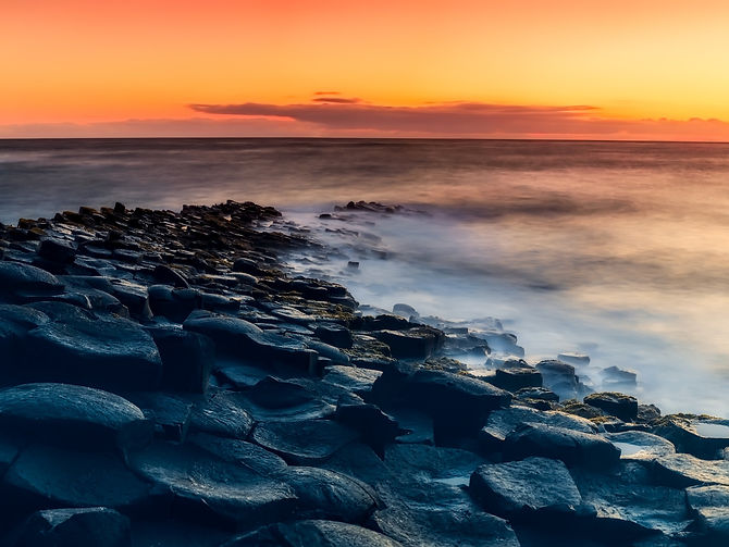 Giants causeway at sunset in Northern Ireland