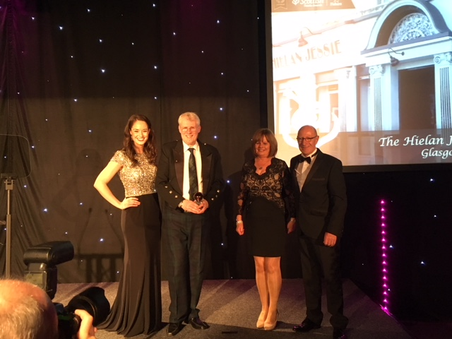 from The Hielan Jessie Bar in Glasgow collecting the J Thomson Colour Printers - Best Bar/Pub Award.
