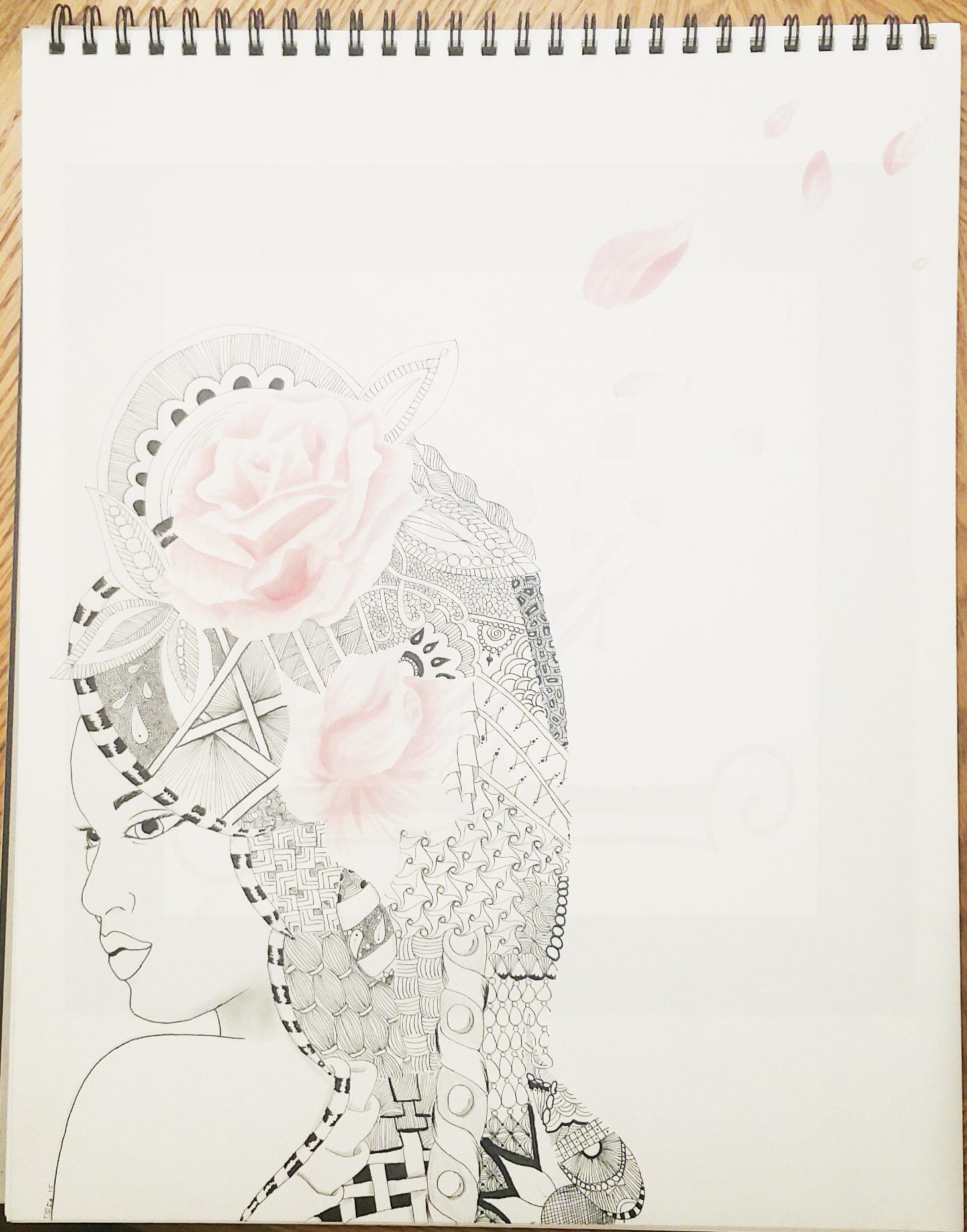 Zentangle Hair with Roses