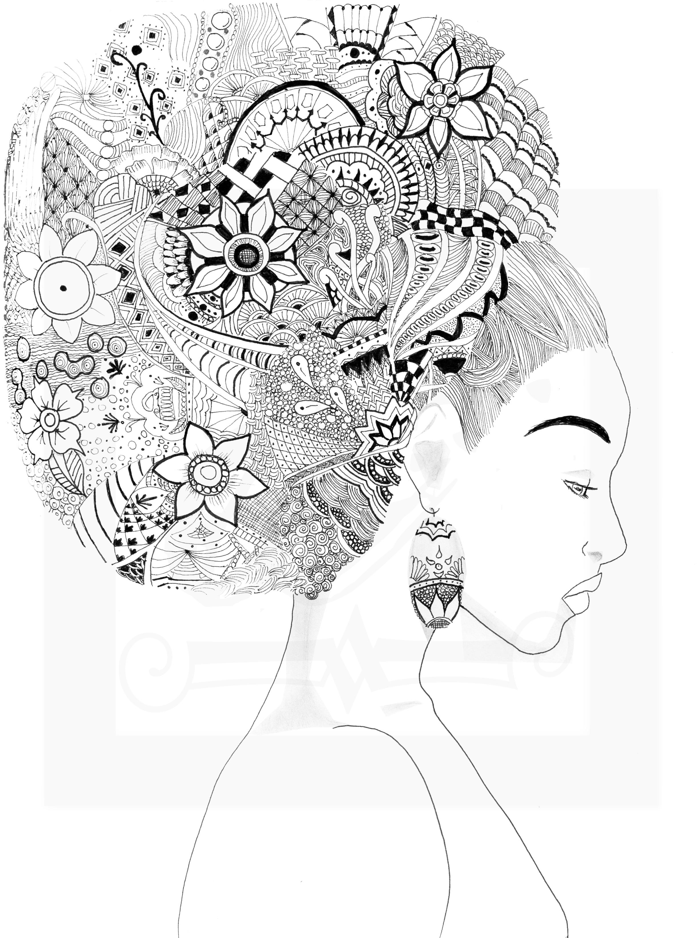 Zentangle Afro Puff