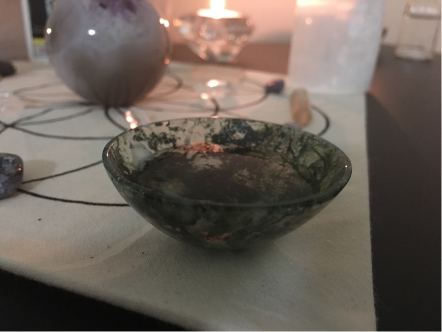 Moss Agate Bowl Holy Water