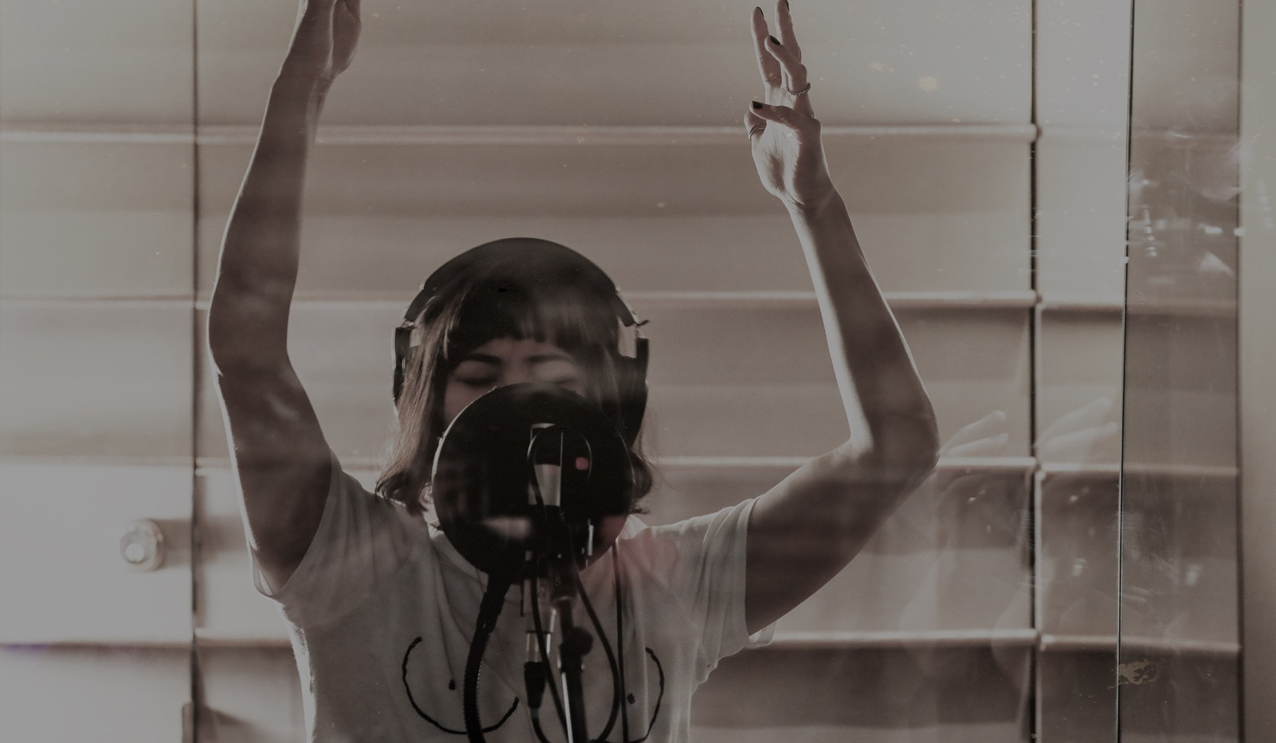 Eva Noblezada recording the Hadestown cast album (Shot for Marathon Digital)