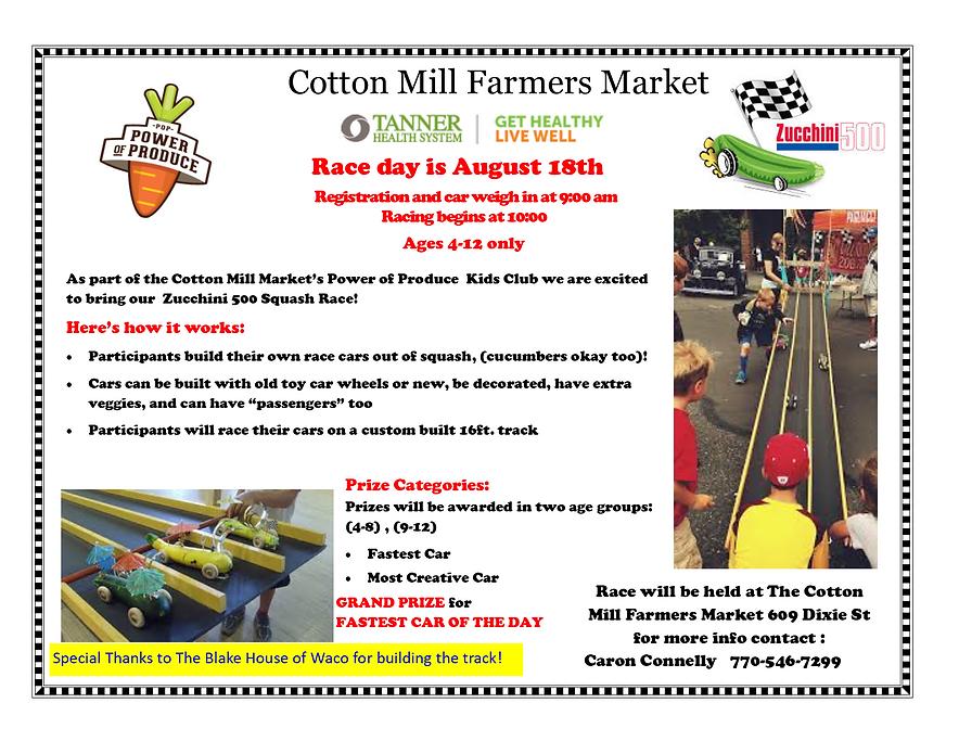 Zucchini 500 Squash Race information