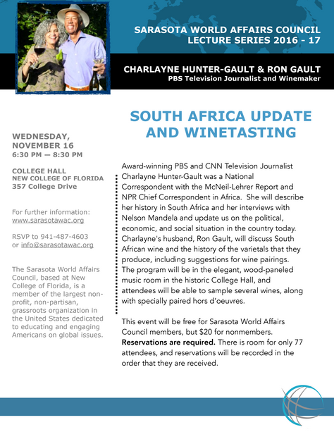 Lecture Series: South Africa Update & Winetasting